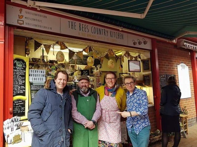 Mike and Sarah with Tom Parker Bowles and Nigel Barden at the judging of BBC Food and Farming Awards 2018