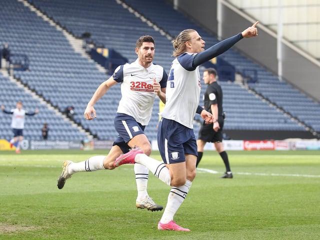 Brad Potts celebrates his goal in the 3-0 win over Huddersfield