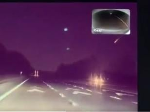 Twitter user Owen Holmes - @Owentec - captured the meteor falling through the sky on his dashcam (top right) while travelling on the M6 at junction 33 near Lancaster. Photo: Owen Holmes