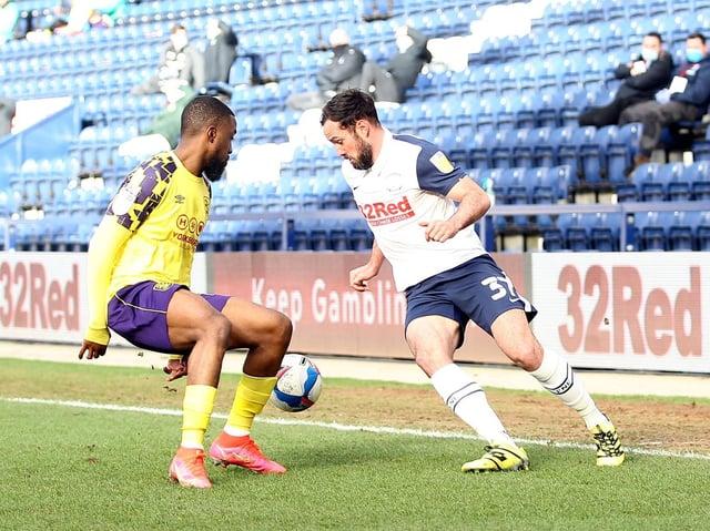 Preston North End left-back Greg Cunningham in action against Huddersfield at Deepdale