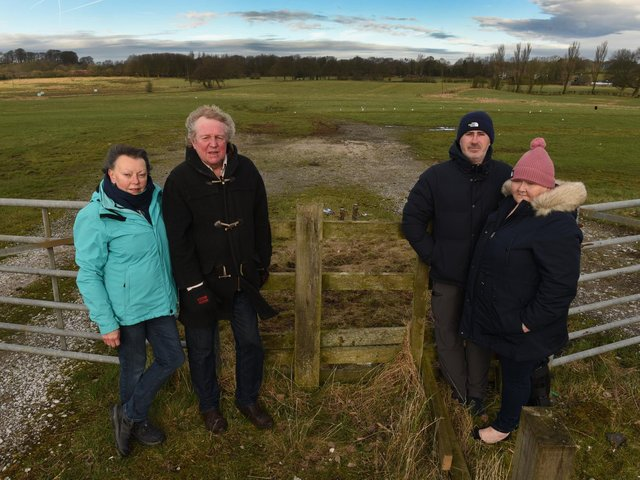 Councillors Gordon and Margaret France and residents Lisa and Richard Curzon at the site of the proposed sand excavation site