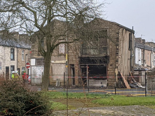 The derelict building which caught fire in Briercliffe Road, Burnley this morning (March 3)