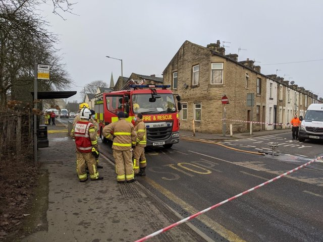 Fire crews are still at the scene of a derelict building fire in Burnley this morning