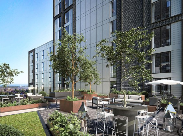 The planned roof terrace on the seventh floor of the central part The Exchange development (image: Day Architectural Limited)