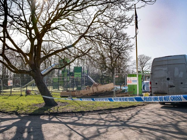 The council-funded improvements to the playground in Hurst Grange Park, Penwortham has cost around £225,000, but work has been set back after it was trashed by vandals on Monday evening (March 1)