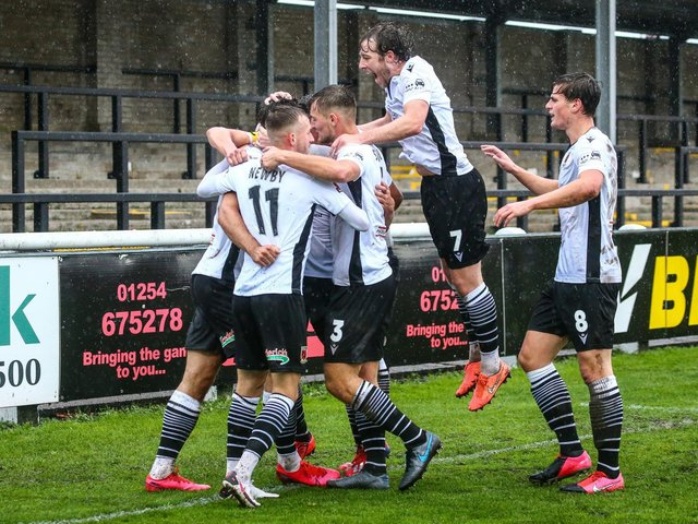 Chorley's players celebrate scoring a goal this season (photo:Stefan Willoughby)