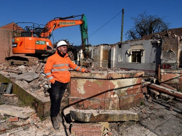 A demolition crew has flattened the Old England.