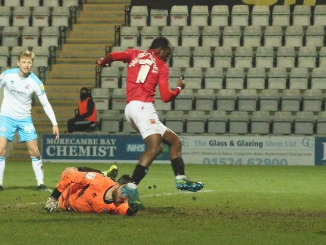 Carlos Mendes Gomes scores his second goal of the evening in midweek