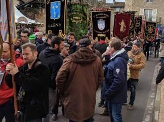 Villagers prepare for the Saint Vincent Tournante festival in Macon, Burgundy
