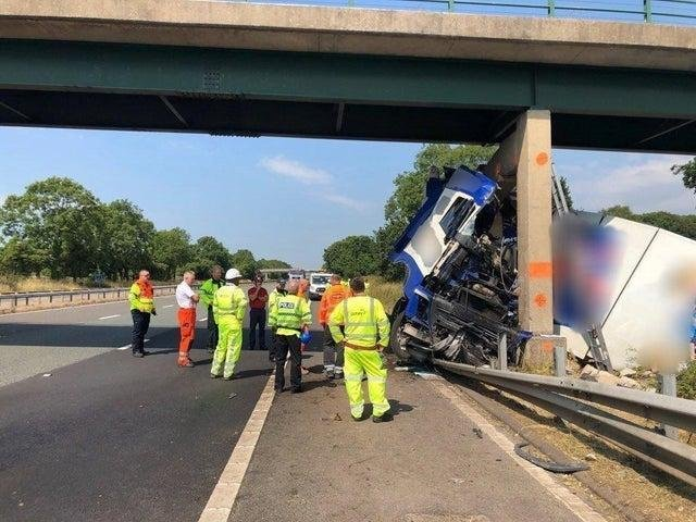 The access bridge, which crosses the M6 at Barnacre and links farmland on either side of the motorway, was struck by a lorry in July 2018
