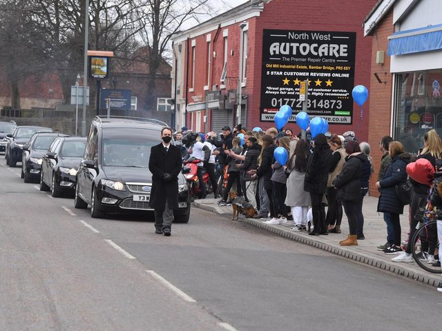 Friends of Ben and residents of Bamber Bridge gave his funeral courtege a guard of honour along Station Road