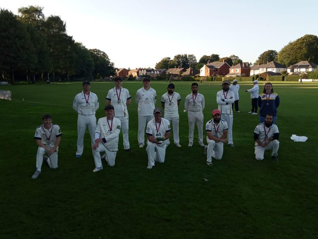 Walton-le-Dale CC's 2nd XI cup winners in 2020 (Neil Harvey, centre with the cup)