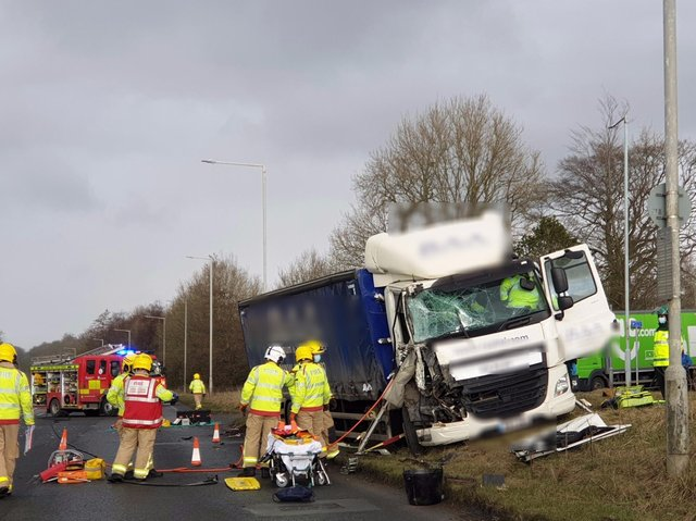 The scene on the A59 yesterday after two lorries collided