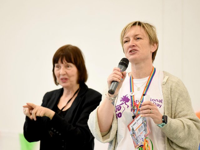 Deborah Terras speaking at the 2019 International Women's Day festival event at Blackpool Sixth Form