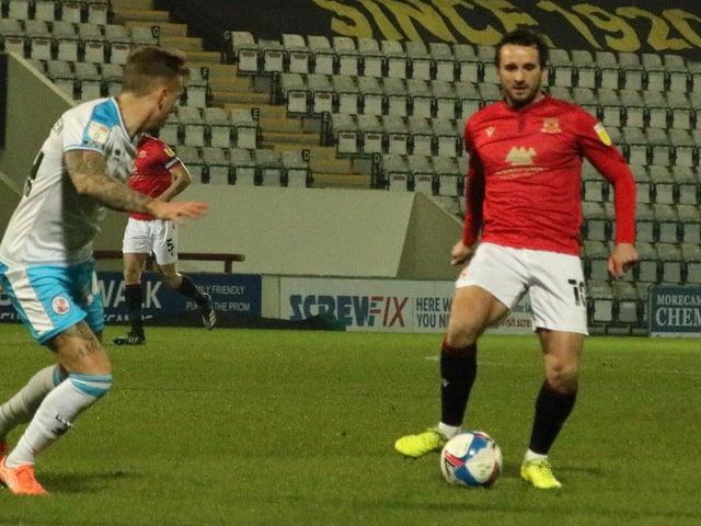 Aaron Wildig gave Morecambe the lead against Carlisle United