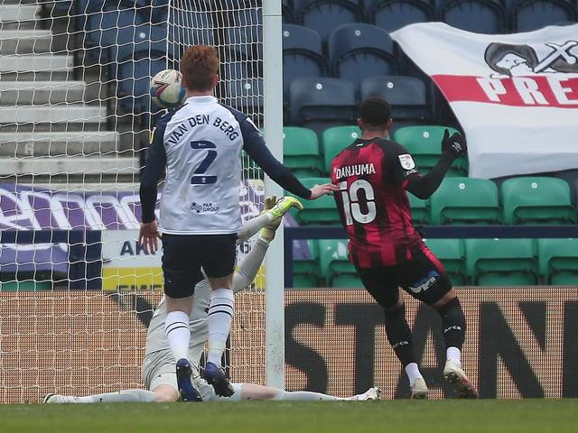 Bournemouth's Arnaut Danjuma fires past PNE goalkeeper Daniel Iversen