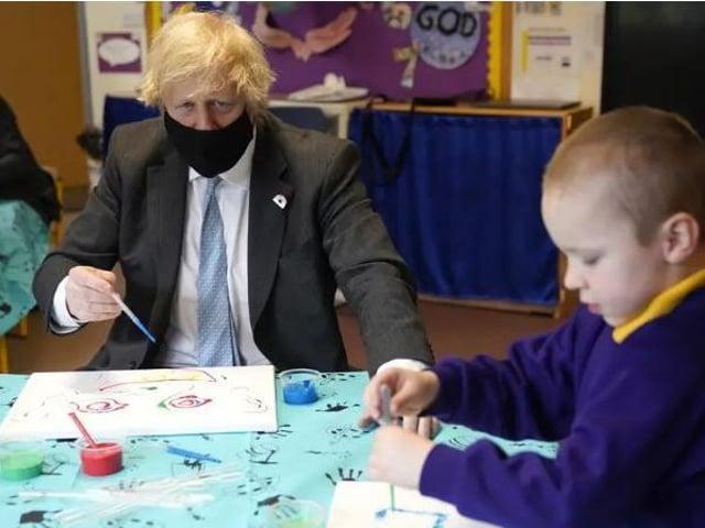 Prime Minister Boris Johnson visiting a primary school