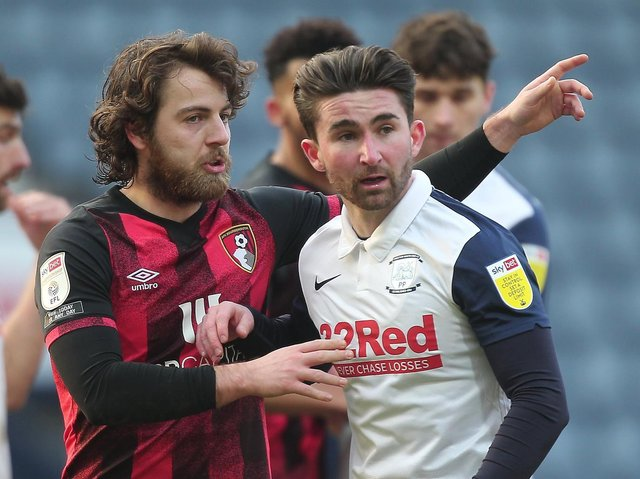 Ex-North Ender Ben Pearson, left, with current PNE star Sean Maguire