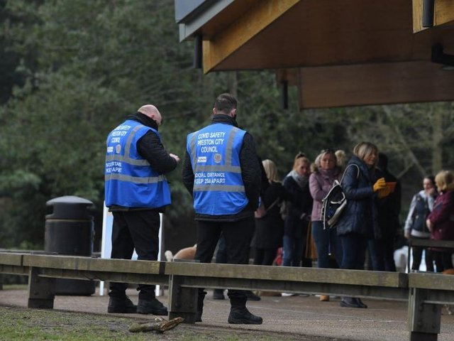 Covid wardens at Avenham Park