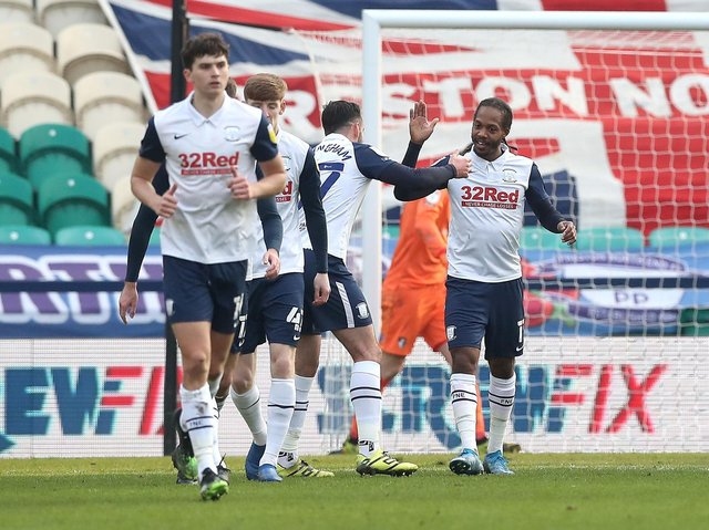 Daniel Johnson is congratulated after scoring Preston North End's equaliser against AFC Bournemouth at Deepdale
