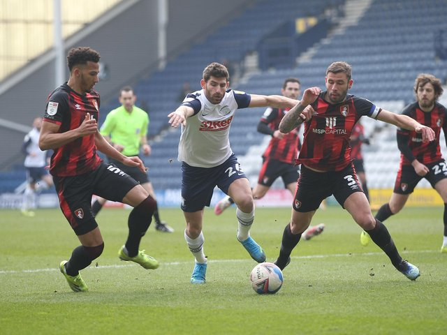 Ched Evans battles with the Bournemouth defence at Deepdale.