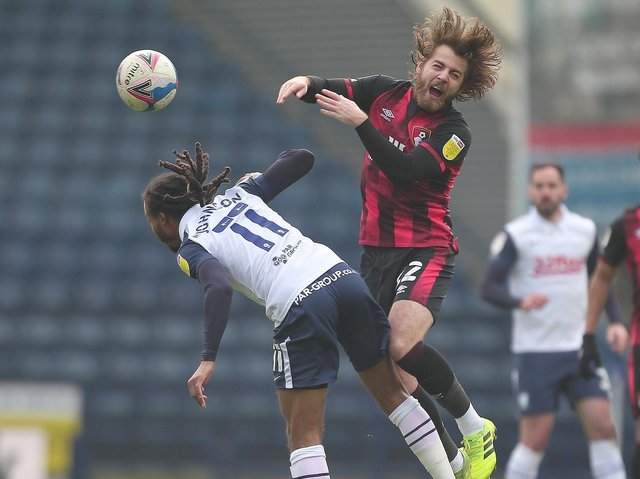 Preston North End midfielder Daniel Johnson battles with his former team-mate Ben Pearson in the 1-1 draw with AFC Bournemouth
