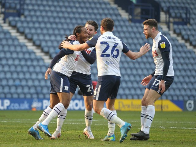 Daniel Johnson celebrates scoring Preston North End's equaliser against AFC Bournemouth at Deepdale