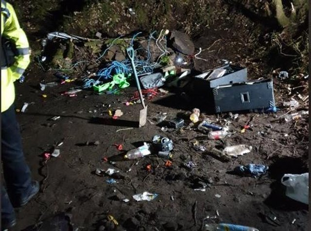 The aftermath of the rave, with litter scattered around. (Image: Lancashire Police)