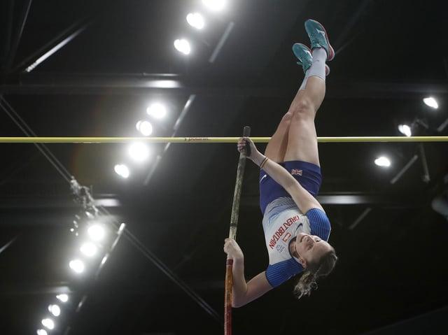 Holly Bradshaw on her way to European bronze on Saturday