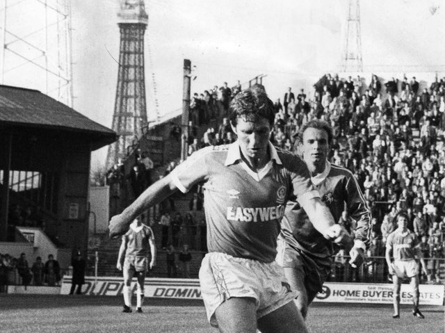 Alan Ball pictured during a Blackpool FC v Gillingham match