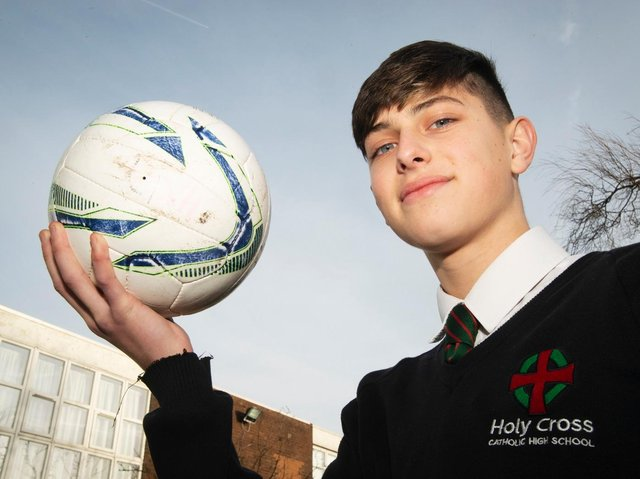 "Luke attended Holy Cross Catholic High School in Chorley for 5 years before completing his final year in 2020. The school has paid tribute to its former student, who it described as a ""kind and thoughtful young man"". In this picture, the promising footballer is aged 14 and had just signed for Burnley FC Academy."