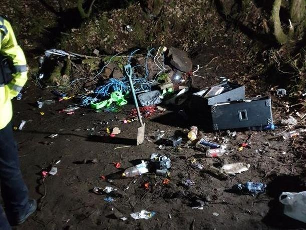 The aftermath of the rave at the quarry rave in the woods between Healey Nab quarry and White Coppice, near Anglezarke, Chorley in the early hours of Sunday morning (March 7). Pic: Lancashire Police