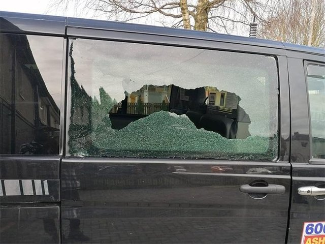 On February 22, a stone smashed through the back window of an Ashton Allied people carrier in Miller Lane, Ribbleton whilst passengers were inside. Pic credit: Ashton Allied Taxis