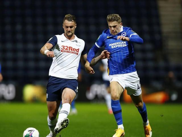 Preston North End centre-half Patrick Bauer in action against Brighton in the Carabao Cup