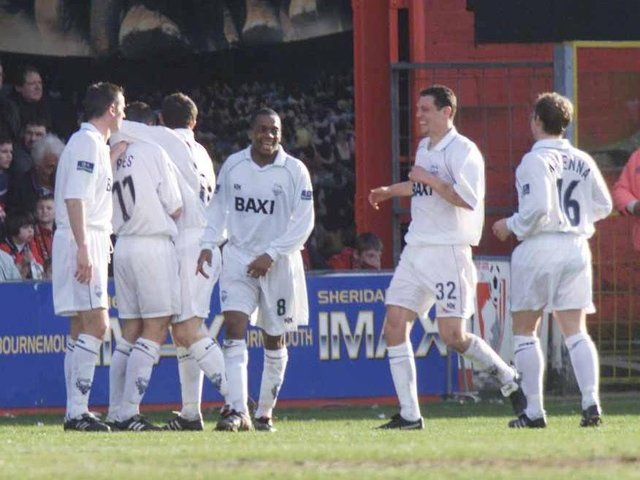 David Eyres (11) and Brett Angell (32) both claimed Preston North End's winner at AFC Bournemouth in March 2000