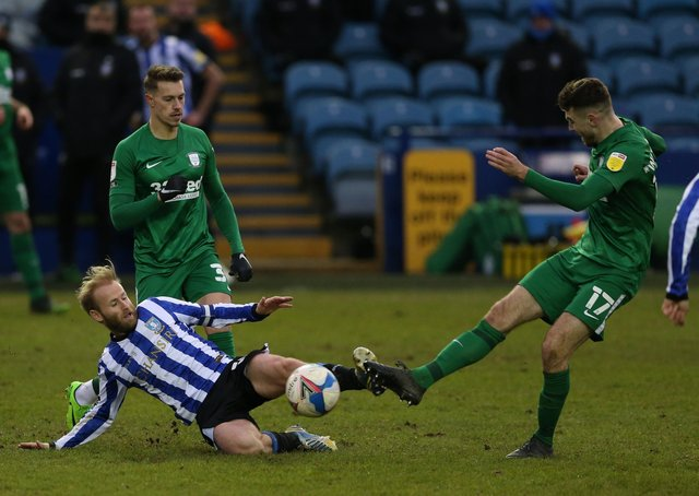 In action against Sheffield Wednesday's Barry Bannan at Hillsborough