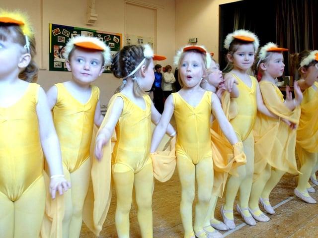 Children from the Mavis Berry School of Dance ready to perform Tweety Pie