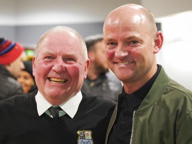 Bamber Bridge chairman Brian Ginty and manager Jamie Milligan, right