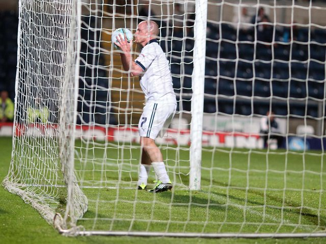Iain Hume celebrates scoring Preston North End's third goal in the 4-3 win at Wycombe in September 2011