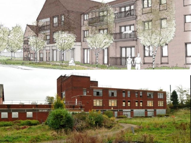(Top) Artist's impression of how the planned 'extra care' apartments will look when they are built on (bottom) the site of the former Ribbleton Hospital (top image: Levitt Bernstein, via Preston City Council planning portal)