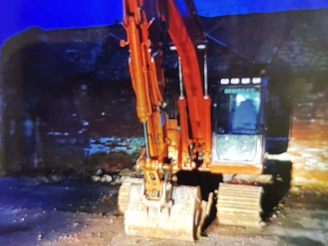 The £50,000 digger was located in Nelson at around 10pm yesterday (Thursday, March 11), just hours after it was reported stolen 200 miles away in Oxfordshire. Pic: Lancashire Police