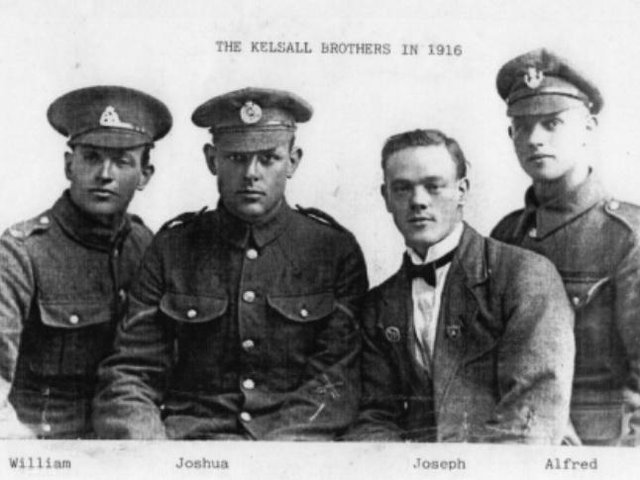 Brothers William, Joshua, Joseph and Alfred Kelsall, who all served in the First World War