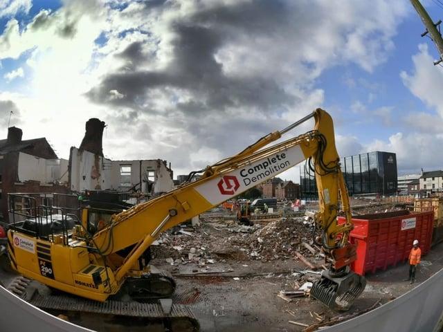 Demolition and construction work at UCLan, Preston