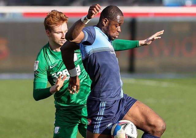 Sepp van den Berg competing with Wycombe Wanderers' Uche Ikpeazu