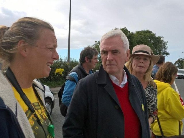 John McDonnell visiting anti-fracking protestors on Preston New Road in 2017