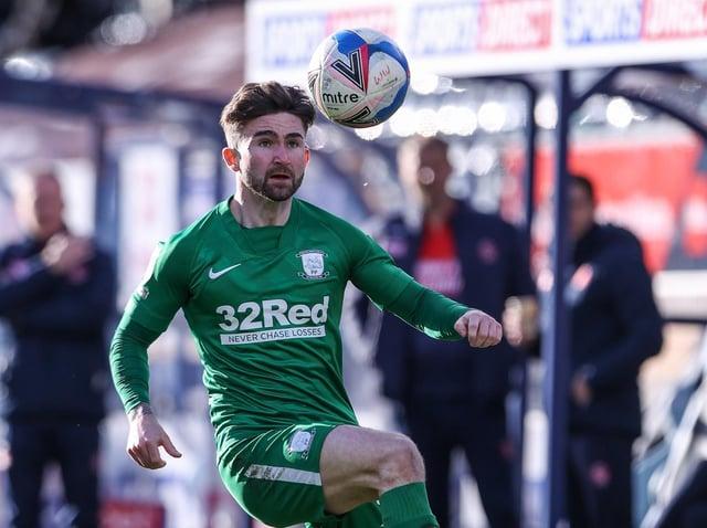 Preston North End striker Sean Maguire in action against Wycombe