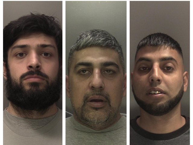 From left: Omar Ramzan, Saghawat Ramzan and Mohammed Sageer. They were all jailed for life after two men were brutally killed with a crossbow during a cannabis farm burglary.