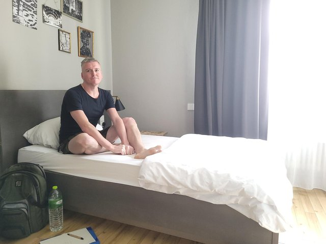Andrew Neale, 35, from Preston, has spent two weeks stranded in a Frankfurt 'quarantine hotel', which has cost him £146 per night, not including food
