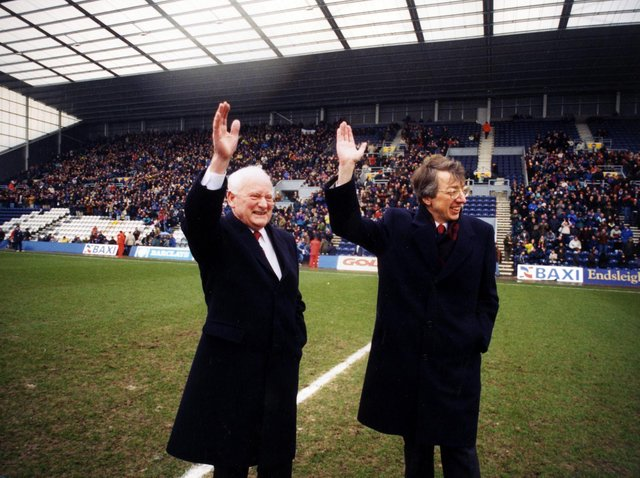 Sir Tom Finney and PNE chairman Bryan Gray at the official opening of the new stand at Deepdale 25 years ago