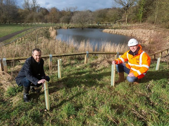 Coun Alistair Bradley, leader of Chorley Council, and Paul Brightwell, restoration & ecology manager at FCC Environment. Chorley Council and FCC Environment have planted thousands of trees on Yarrow Meadows in Chorley, March 2021, as part of Chorley Council's wider plans to tackle climate change, after declaring a Climate Emergency in November 2019
